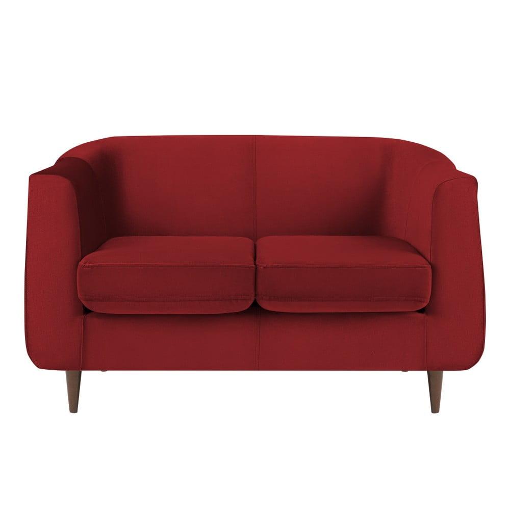 Czerwona aksamitna sofa Kooko Home Glam, 125 cm