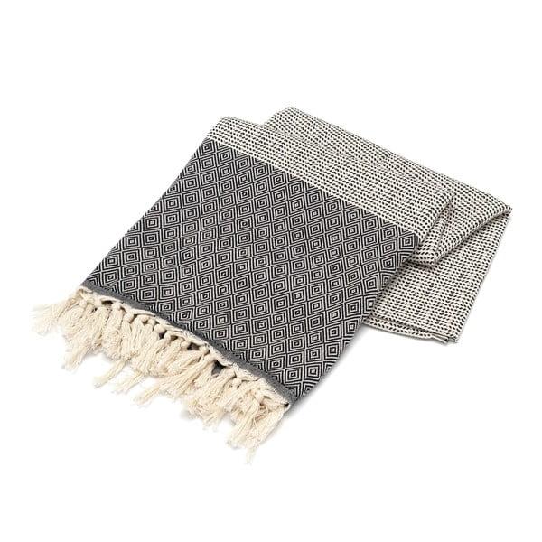 Ręcznik hammam Stripped Elmas Black, 100x180 cm
