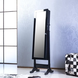 Zamykane lustro stojące ze schowkiem Scarlet, czarne