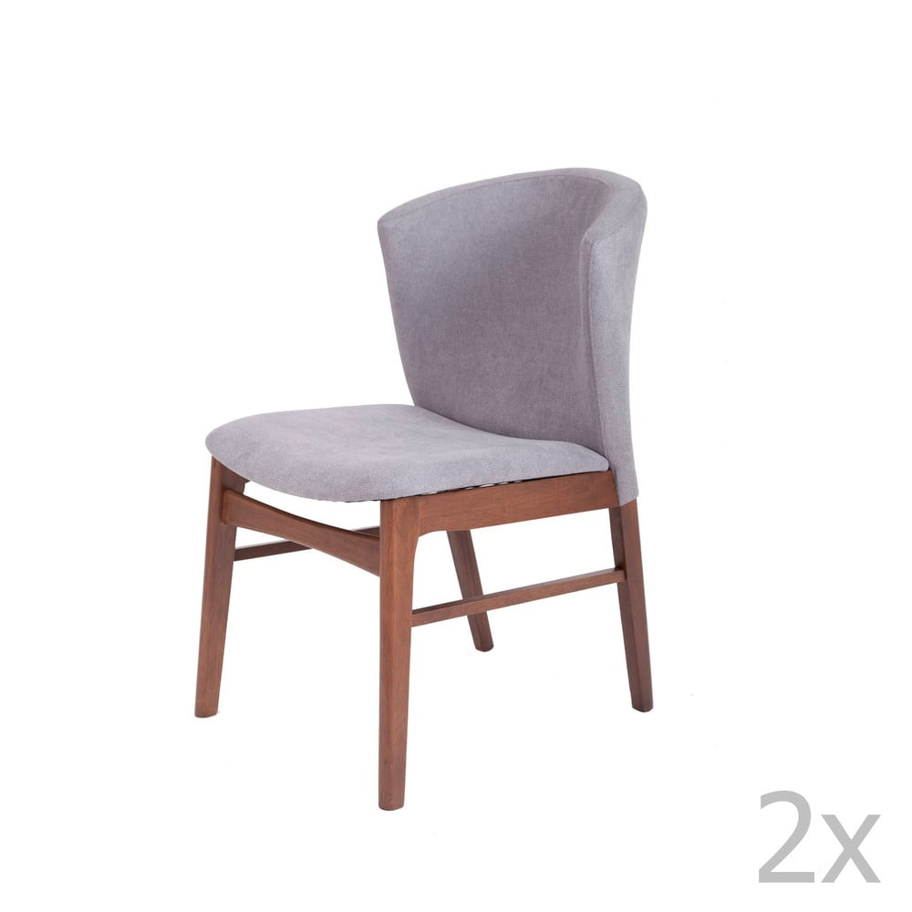 Zestaw 2 Szarych krzeseł do jadalni z ciemnobrązową konstrukcją z drewna kauczukowca sømcasa Mara