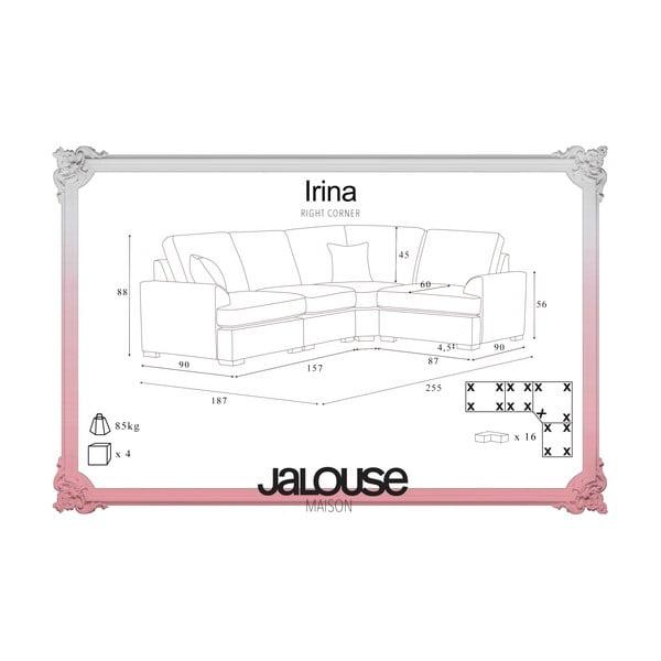 Sofa narożna Jalouse Maison Irina, prawy róg, czekoladowa