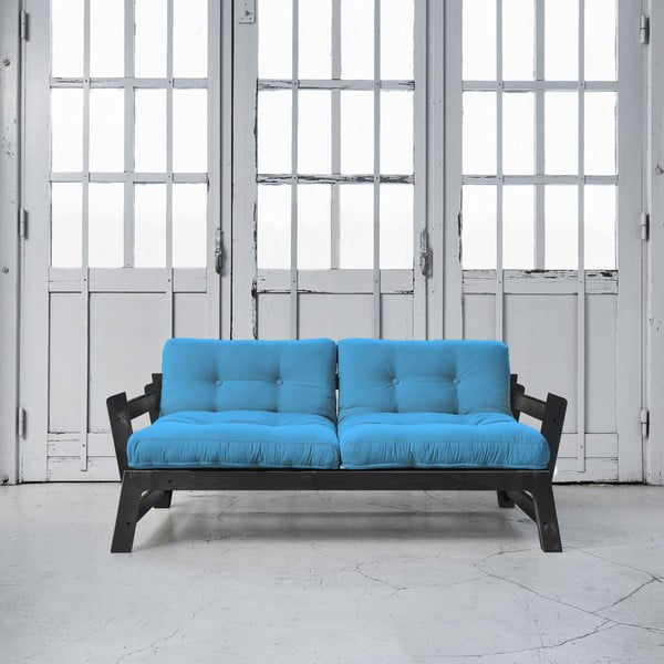 Sofa rozkładana Karup Step Black/Horizon Blue