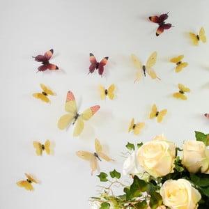 Naklejka Motyle 3D, żółte