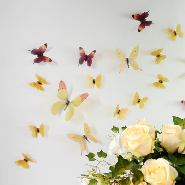 Zestaw 18 naklejek adhezyjnych 3D Fanastick Butterflies Yellow