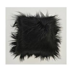 Dwustronna futrzana poduszka z długim włosem Blacky, 50x50 cm
