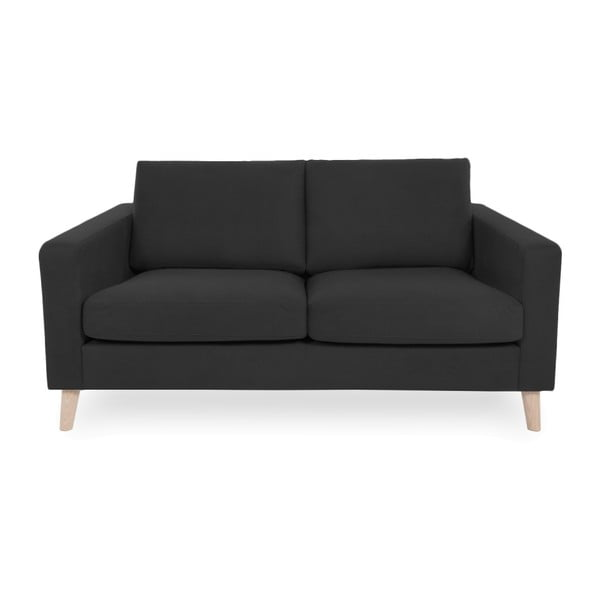 Antracytowa sofa 2-osobowa z jasnymi nogami Vivonita Tom