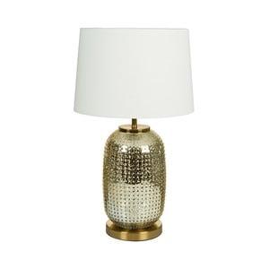 Biała lampa stołowa z podstawą w złotej barwie Santiago Pons Crystal