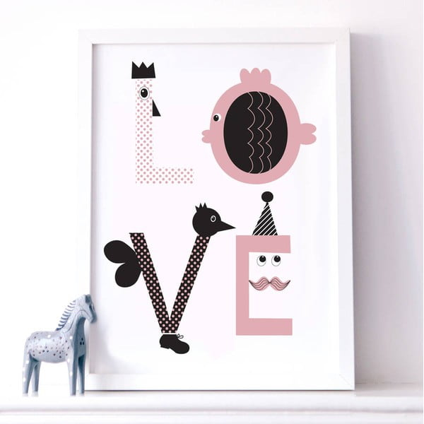 Plakat Karin Åkesson Design Love Pink, 30x40cm