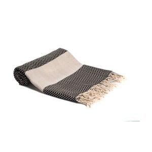 Czarno-biały ręcznik kąpielowy tkany ręcznie Ivy's Asli, 95x180cm