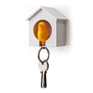 Budka z zawieszką na klucze QUALY Sparrow, biała/pomarańczowa