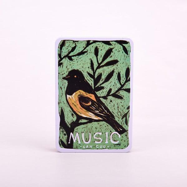 Notes w metalowej okładce Music, niebieski ptaszek