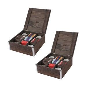 Zestaw 2 brązowych pudełek na herbatę Mendler Shabby