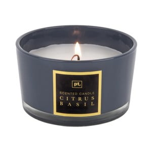 Świeczka o zapachu cytrusów i bazylii PT LIVING Scented Candle, 27 h