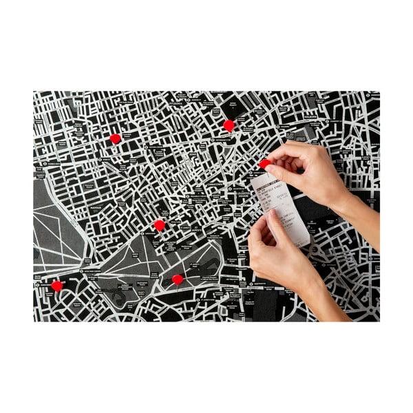 Czarna ścienna mapa świataPalomar Pin World, 126x68cm