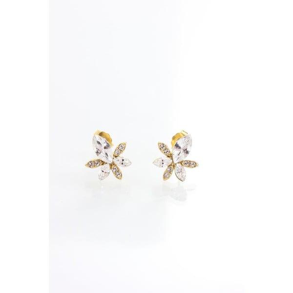 Kolczyki z kryształami Swarovskiego Yasmine Golden Leaf