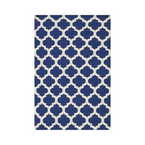 Niebieski dywan tkany ręcznie Kilim Zircon, 120x180cm