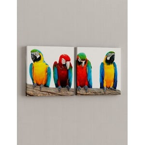 Zestaw 2 obrazów Zlot papużek