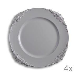 Zestaw 4 talerzy z tworzywa sztucznego Elegance Dove Grey