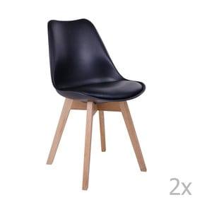 Zestaw 2 czarnych krzeseł House Nordic Molde