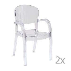 Zestaw 2 przezroczystych krzeseł z podłokietnikami Castagnetti Penelope