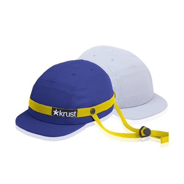 Kask rowerowy Krust blue/yellow/grey z zapasową czapką, rozmiar S