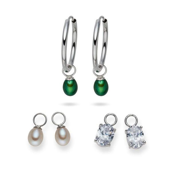 Kolczyki Yamato Pearls z wymiennymi zawieszkami Silver Green