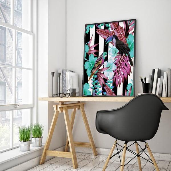 Plakat z papużkami, czarno-białe tło, 30 x 40 cm