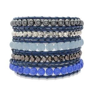 Niebieska pięciorzędowa bransoletka ze skóry z perłami Lucie & Jade