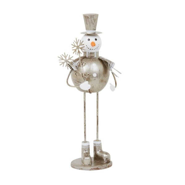 Dekoracja Archipelago Silver Snowman With Snowflake, 19 cm