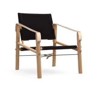 Czarne krzesło składane z bambusową konstrukcją We Do Wood Nomad