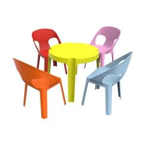 Ogrodowy komplet dziecięcy 1 zielonego stolika i 4 krzesełek Resol Julieta