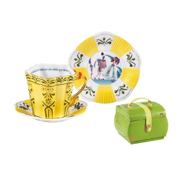 Porcelanowy komplet: filiżanka, spodek, talerz Brasil