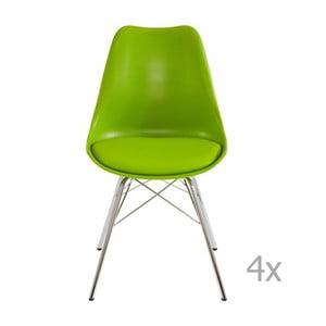 Zestaw 4 zielonych krzeseł Støraa Jenny