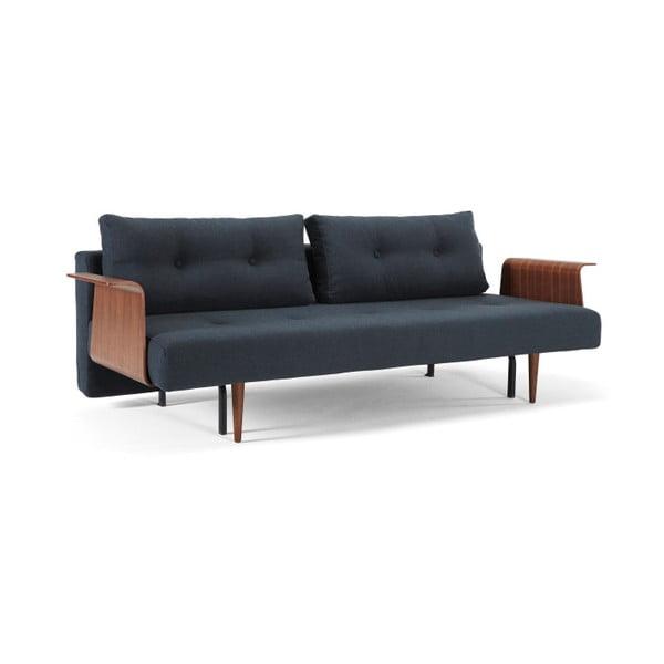Niebieska sofa rozkładana z drewnianymi podłokietnikami Innovation Recast Plus