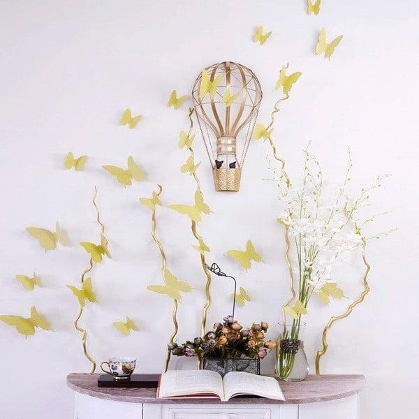 Zestaw 12 naklejek 3D Ambiance Gold Butterflies