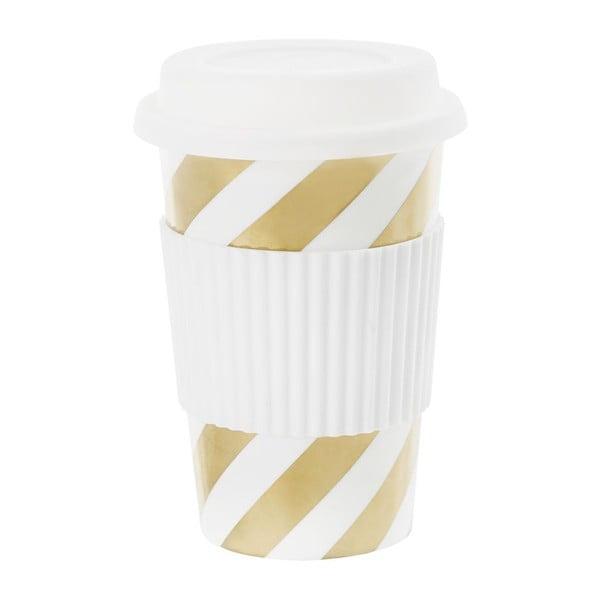 Ceramiczny kubek podróżny Diagonal Stripe Gold, 0,5 l