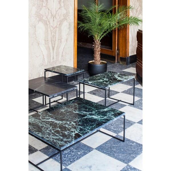 Czarny niski stolik z marmurowym blatem Serax Nero