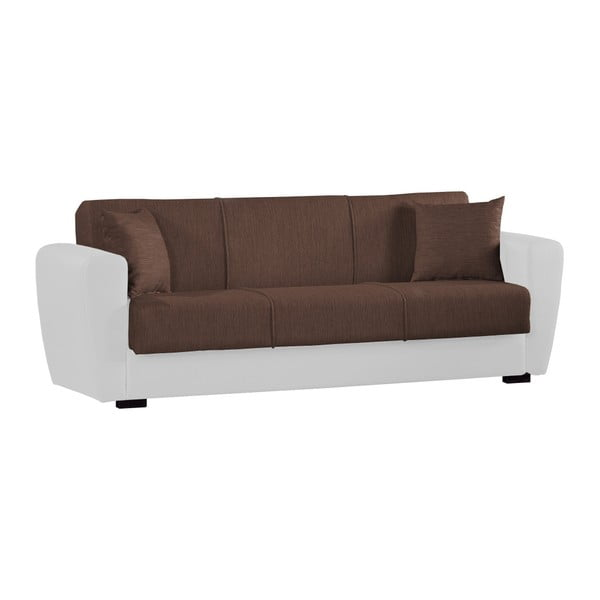 Czekoladowo-biała trzyosobowa sofa rozkładana ze schowkiem Esidra Comfort