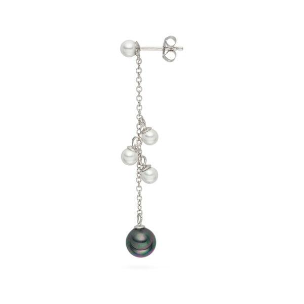 Wiszące kolczyki z pereł Black and White, 5,8 cm