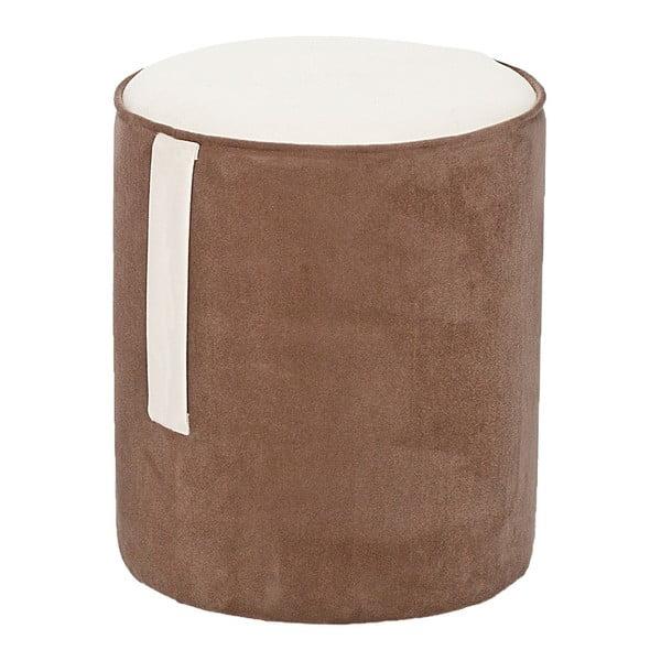 Okrągły puf Ghia, brązowy z kremowymi detalami