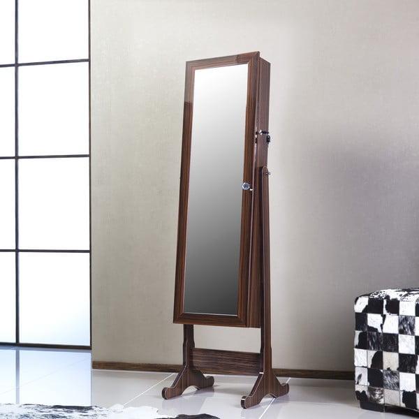Zamykane lustro stojące ze schowkiem Da Vinci,, hebanowe
