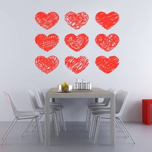 Naklejka na ścianę Czerwone serduszka, 60x90 cm