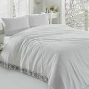 Biała cienka narzuta Pique, 220x240 cm