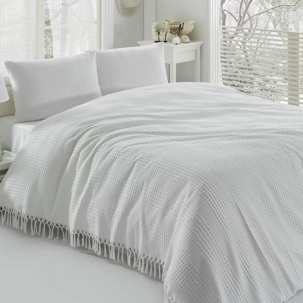 Biała bawełniana narzuta dwuosobowa Pique, 220x240 cm