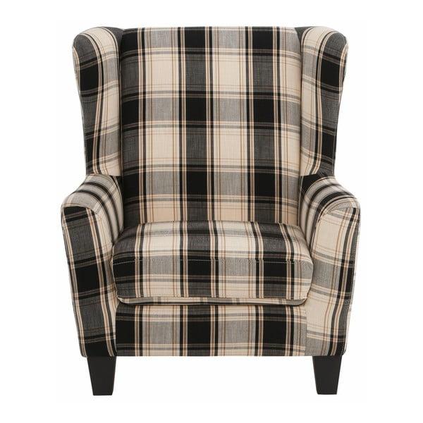 Czarny fotel w kratkę z podnóżkiem Støraa Aladdin