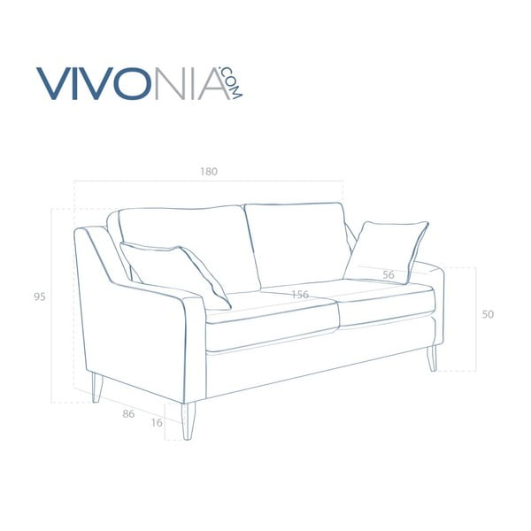 Zielona  sofa trzyosobowa Vivonita Bond
