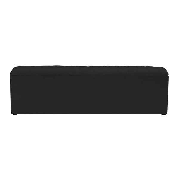 Czarna ławka tapicerowana ze schowkiem Windsor & Co Sofas Nova, 140x47 cm