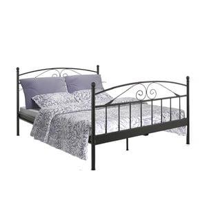Czarne łóżko dwuosobowe Støraa Bibi, 180x200 cm
