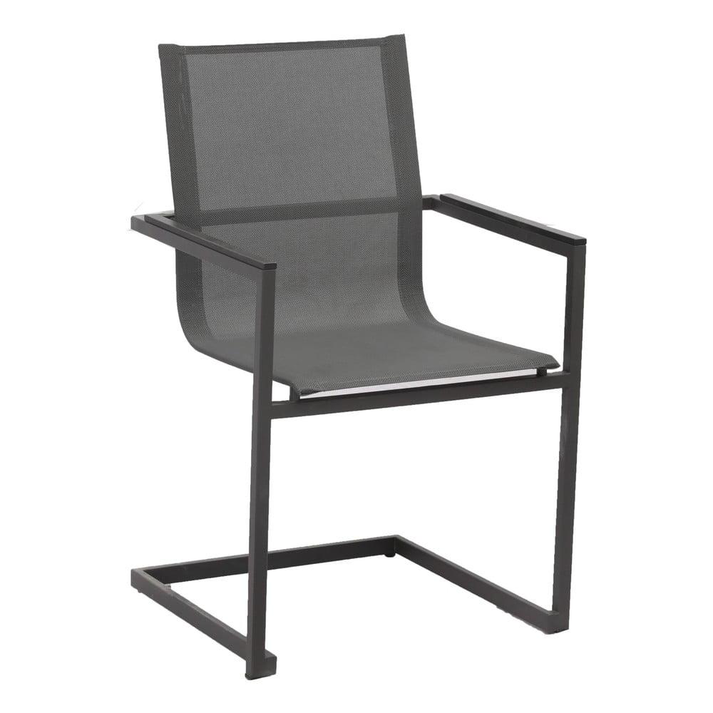 Zestaw 4 antracytowoszarych krzeseł ogrodowych ze stali nierdzewnej ADDU Sophia