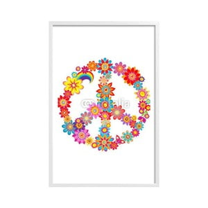 Plakat w ramce Peace Flower, białą ramka